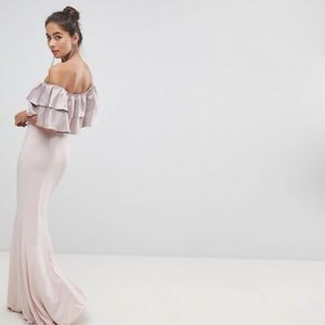 Asos Silver Bloom Bandeau Frill Front Maxi Dress